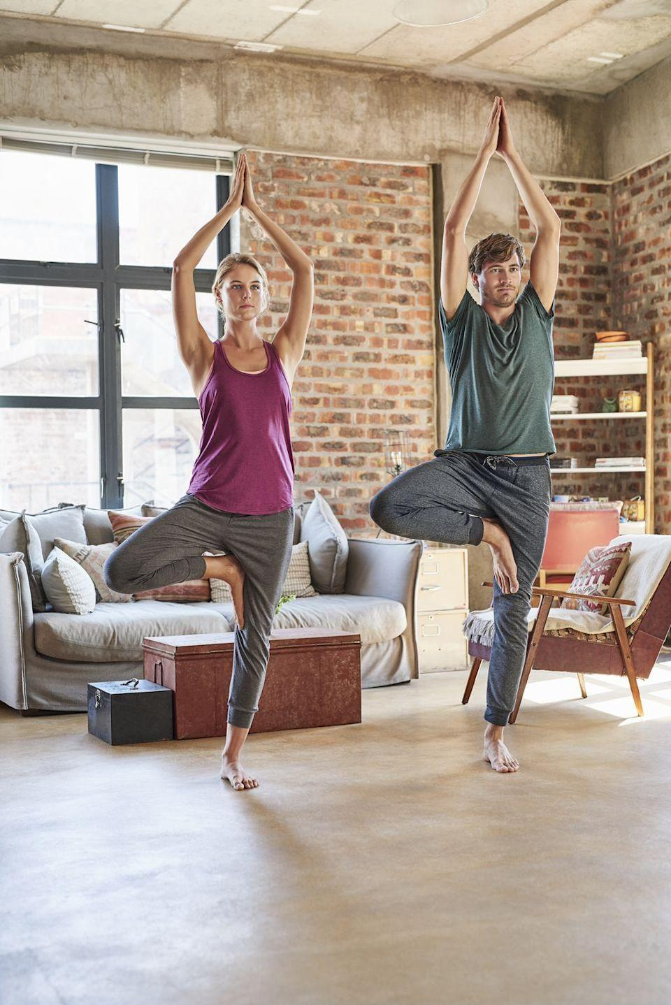 """<p>Roll out your yoga mats and get to stretching for a peaceful, relaxing night. There are many online yoga videos you can use, such as <a href=""""https://yogawithadriene.com/"""" rel=""""nofollow noopener"""" target=""""_blank"""" data-ylk=""""slk:Yoga with Adriene"""" class=""""link rapid-noclick-resp"""">Yoga with Adriene</a>, which offers free tutorials.</p><p><a class=""""link rapid-noclick-resp"""" href=""""https://www.amazon.com/BalanceFrom-Purpose-Non-Slip-Exercise-Carrying/dp/B01IZDFWRE/?tag=syn-yahoo-20&ascsubtag=%5Bartid%7C10050.g.30445302%5Bsrc%7Cyahoo-us"""" rel=""""nofollow noopener"""" target=""""_blank"""" data-ylk=""""slk:SHOP YOGA MATS"""">SHOP YOGA MATS</a></p>"""