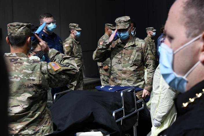 A memorial service for a veteran who died from COVID-19 while being treated at the Javits New York Medical Station in New York City, April 19, 2020. (U.S. Air National Guard/Major Patrick Cordova/Handout via Reuters)