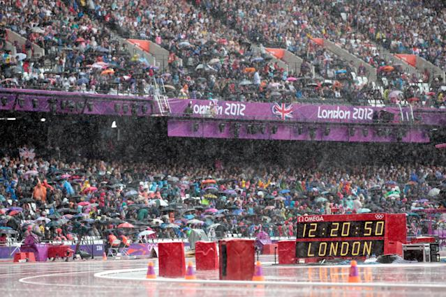LONDON, ENGLAND - AUGUST 03: Heavy rain pours down on Day 7 of the London 2012 Olympic Games at Olympic Stadium on August 3, 2012 in London, England. (Photo by Adam Pretty/Getty Images)
