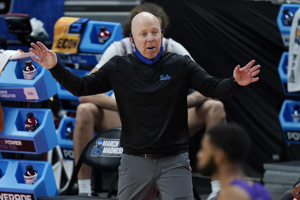 UCLA head coach Mick Cronin directs his players during the second half of a college basketball game against Abilene Christian in the second round of the NCAA tournament at Bankers Life Fieldhouse in Indianapolis Monday, March 22, 2021. (AP Photo/Mark Humphrey)