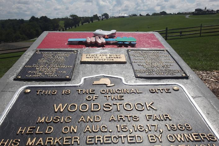 A plaque marks the original site of the Woodstock music festival, seen Aug. 14, 2009 in Bethel, N.Y.   Mario Tama—Getty Images