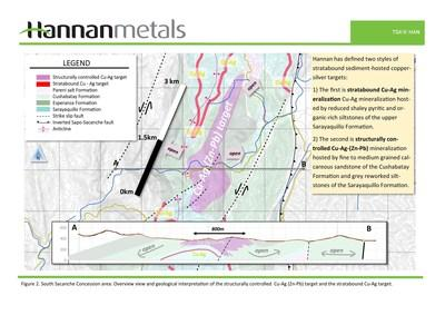 Figure 2. South Sacanche Concession area: Overview view and geological interpretation of the structurally controlled Cu-Ag (Zn-Pb) target and the stratabound Cu-Ag target. (CNW Group/Hannan Metals Ltd.)