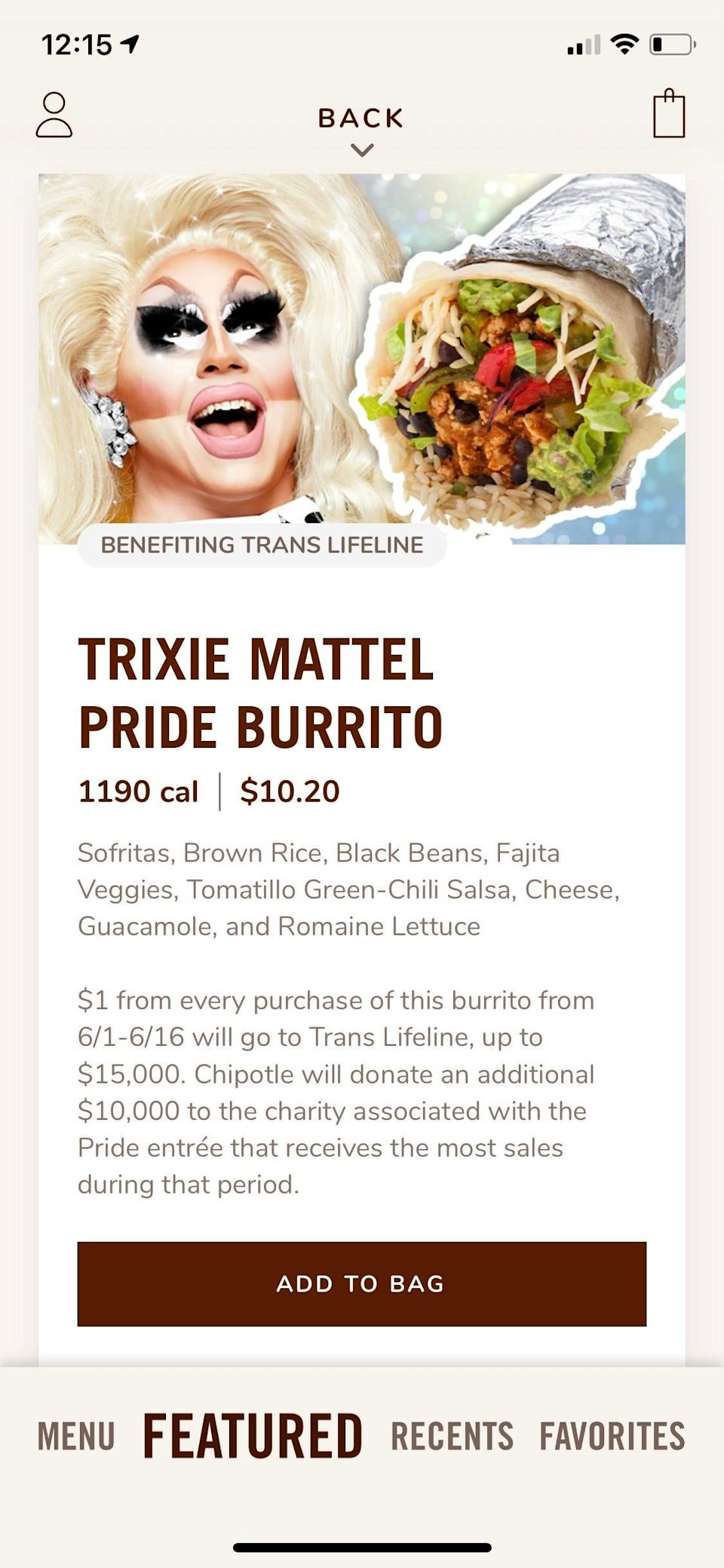 Chipotle is offering go-to meals from three drag performers -- Trixie Mattel, Kim Chi, and Gottmik -- through June 16, with $1 from each entree order benefitting a LGBTQ charity of their choice.