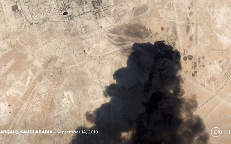 A satellite image shows an apparent drone strike on an Aramco oil facility in Abqaiq - Planet Labs Inc via REUTERS