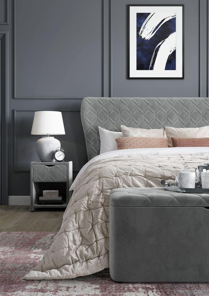 """<p>A coordinated, all-grey bedroom scheme can look elegant, cosy and cocooning. This works by focusing on neutral palettes and layering materials and textures (sumptuous velvet works great here) to ensure the bedroom remains inviting. Matching bedside tables and storage benches maintain a cohesive look.<br></p><p>Pictured: Neva Velvet Finish Upholstered Ottoman Bed Frame, Neva Bedside Table with USB, Neva Blanket Box, all from the <a href=""""https://www.dreams.co.uk/house-beautiful/all"""" rel=""""nofollow noopener"""" target=""""_blank"""" data-ylk=""""slk:House Beautiful collection at Dreams"""" class=""""link rapid-noclick-resp"""">House Beautiful collection at Dreams</a></p>"""