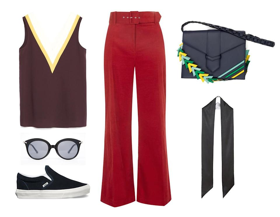 <p>The funktastic shoulder bag will go perfectly with a Wes Andersonis-ish ensemble. Pairing your red flared trouser with a vintage-inspired burgundy top is a bit kooky, but still stylishly on point. A simple, thin silk scarf will add some needed sophistication.</p>