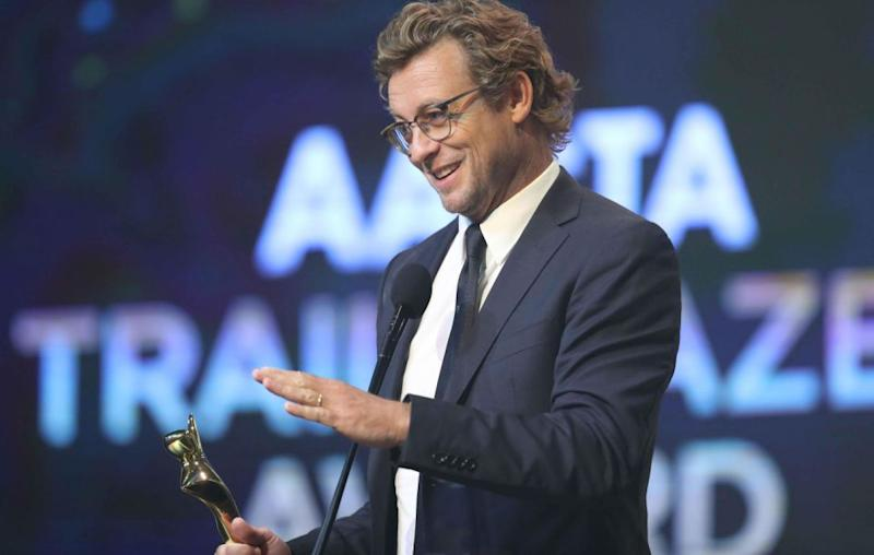 Simon Baker paid tribute to his wife as he accepted the 2017 Trailblazer AACTA Award. Source: Getty