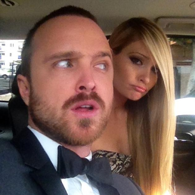 On the way the the #sagawards and yes I tied that bow tie all by myself. Breaking Bad for the win! - @aaronpaul_8