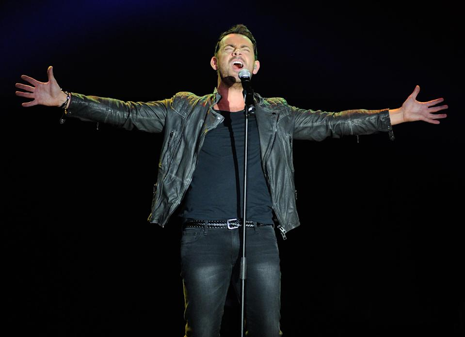 """British singer Ben Forster performs at """"Jesus"""" at the """"Jesus Christ Superstar"""" arena spectacular press conference and press performance to announce a North American arena tour on Friday, April 4, 2014, in New York. (Photo by Evan Agostini/Invision/AP)"""