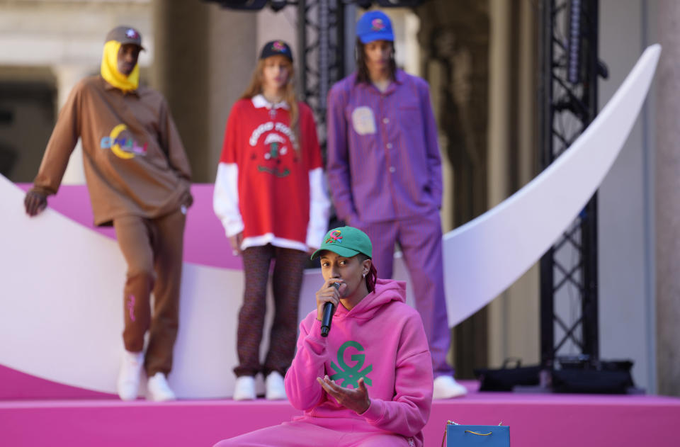 Italian rapper Ghali speaks during the presentation of the Benetton women's and men's Spring Summer 2022 collection, unveiled during the Milan Fashion Week, in Milan, Italy, Tuesday, Sept. 21, 2021. Ghali is a new brand ambassador for the Spring Summer 2022 collection. (AP Photo/Antonio Calanni)
