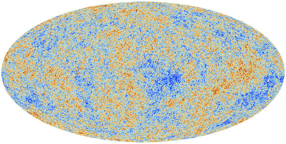 This image unveiled March 21, 2013, shows the cosmic microwave background (CMB) as observed by the European Space Agency's Planck space observatory. The CMB is a snapshot of the oldest light in our Universe, imprinted on the sky when the Univer