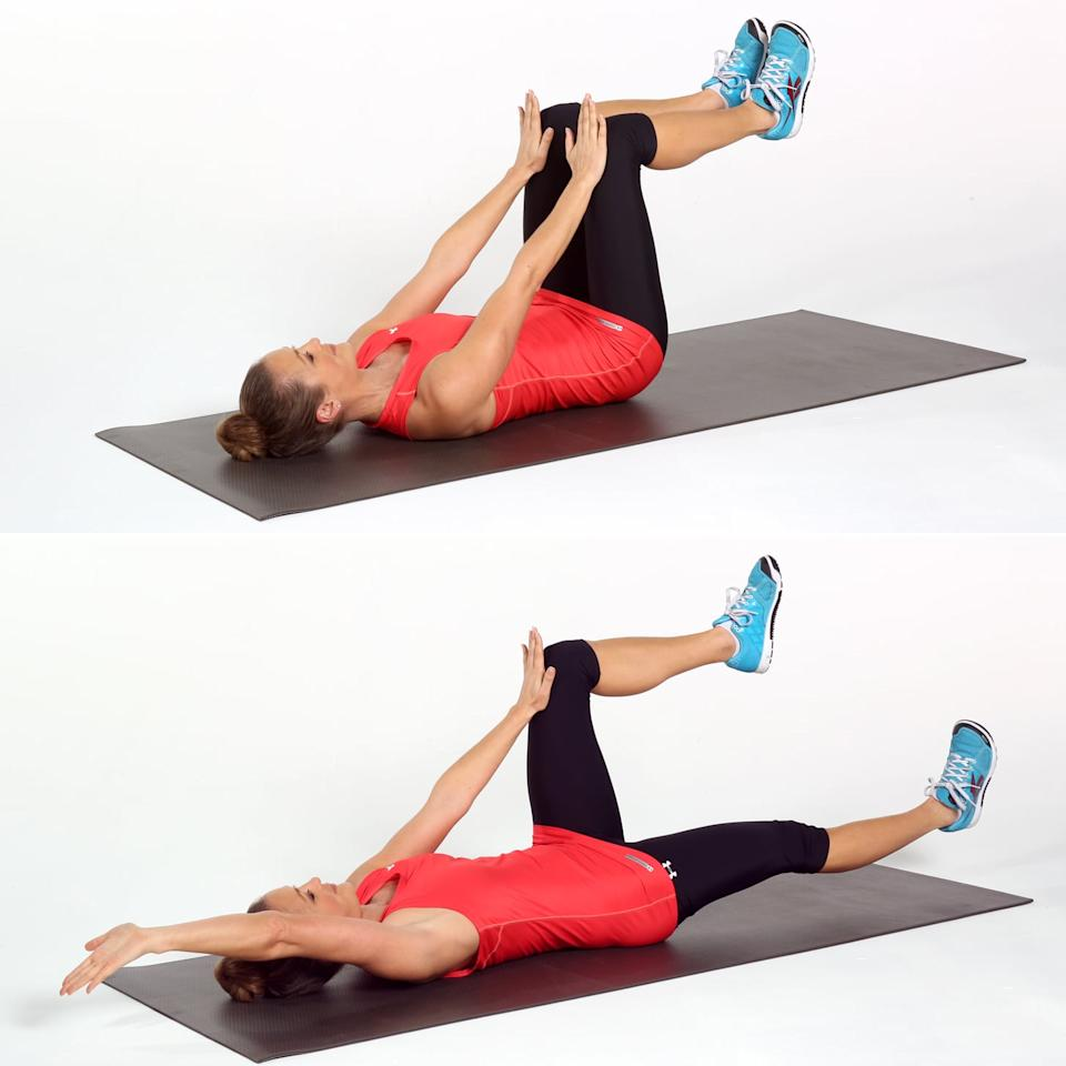 <ul> <li>Lie on your back with a neutral spine and your hips and knees at right angles with your palms pressed into your thighs just above your knees.</li> <li>Pull your abs to your spine, keeping your ribs and pelvis still as you lengthen your right arm and leg out until they are almost parallel to the floor. Keep your torso and spine completely stable as the arm and leg move.</li> <li>Return to the starting position, and repeat on the left side to complete one rep.</li> </ul>