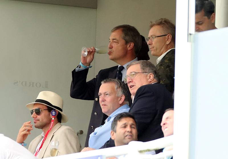 Cricket - ICC Cricket World Cup - England v Australia - Lord's Cricket Ground, London, Britain - June 25, 2019 Nigel Farage in the stands Action Images via Reuters/Peter Cziborra