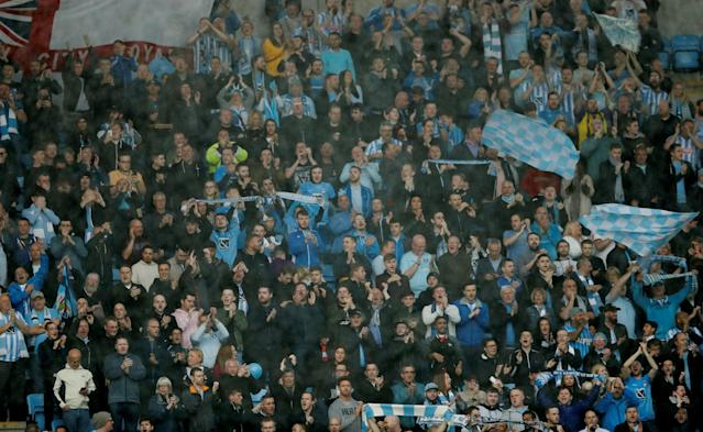 """Soccer Football - League Two Play Off Semi Final First Leg - Coventry City v Notts County - Ricoh Arena, Coventry, Britain - May 12, 2018 Coventry fans Action Images/Andrew Boyers EDITORIAL USE ONLY. No use with unauthorized audio, video, data, fixture lists, club/league logos or """"live"""" services. Online in-match use limited to 75 images, no video emulation. No use in betting, games or single club/league/player publications. Please contact your account representative for further details."""