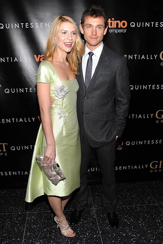 "Claire Danes' chartreuse dress was the perfect choice for St. Patrick's Day, while fiance Hugh Dancy looked good in grey. Dimitrios Kambouris/<a href=""http://www.wireimage.com"" target=""new"">WireImage.com</a> - March 17, 2009"