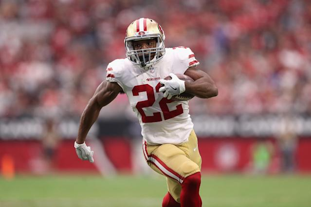 Matt Breida's value may be reduced without Jimmy G, but his usage in Week 4 is expected to remain high. (Photo by Christian Petersen/Getty Images)