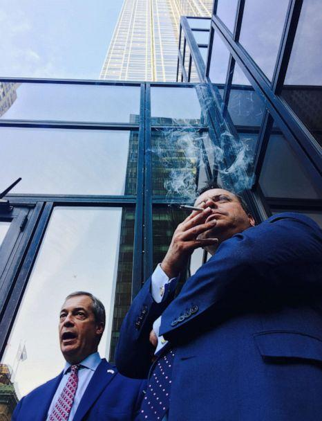 PHOTO: Nigel Farage and Arron Banks pictured outside Trump Tower on November 10th, 2016.  (Any Wigmore)