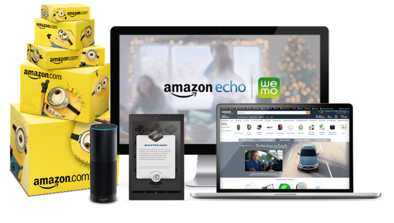 Amazon advertising examples: sponsored boxes, Echo, Kindle, desktop, and laptop.