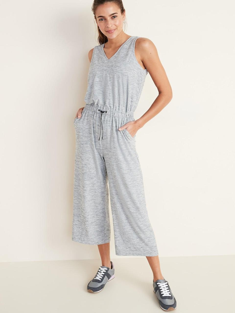 <p>This light grey <span>Old Navy Breathe ON V-Neck Wide-Leg</span> ($40, originally $45) would look cute with white sneakers.</p>
