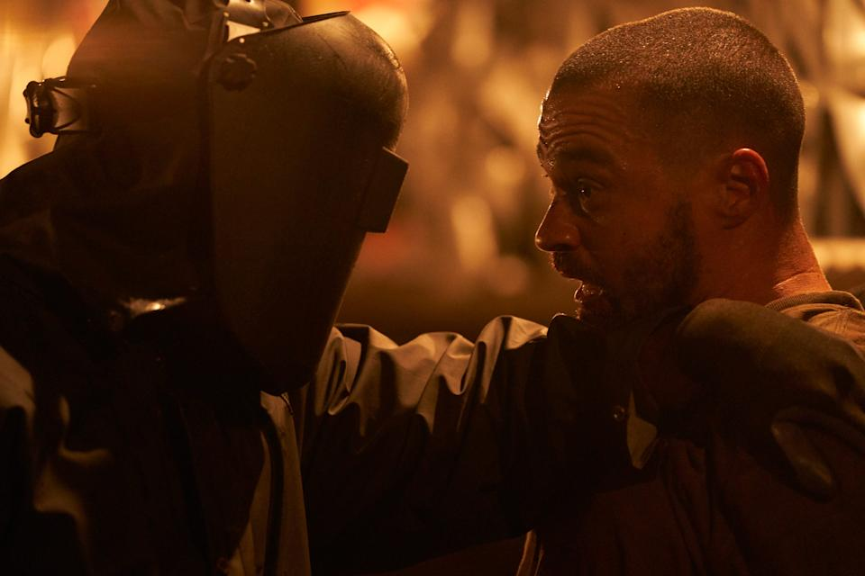 """A comic-book creator (Jesse Williams, right) runs into a real version of his masked slasher character in """"Random Acts of Violence."""""""