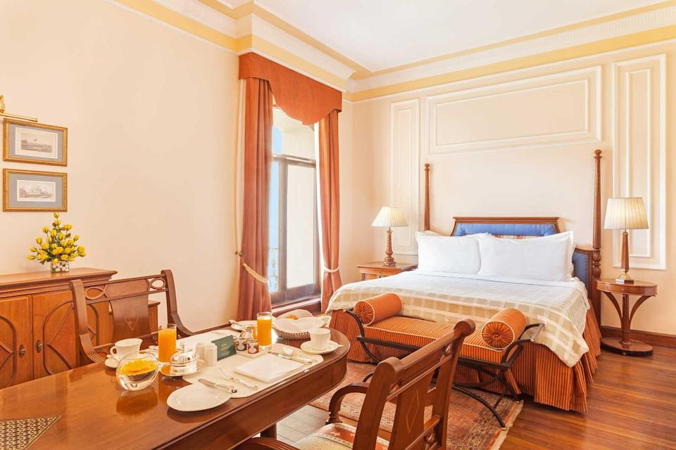 A guest room at the Oberoi Grand hotel, voted one of the best hotels in the world