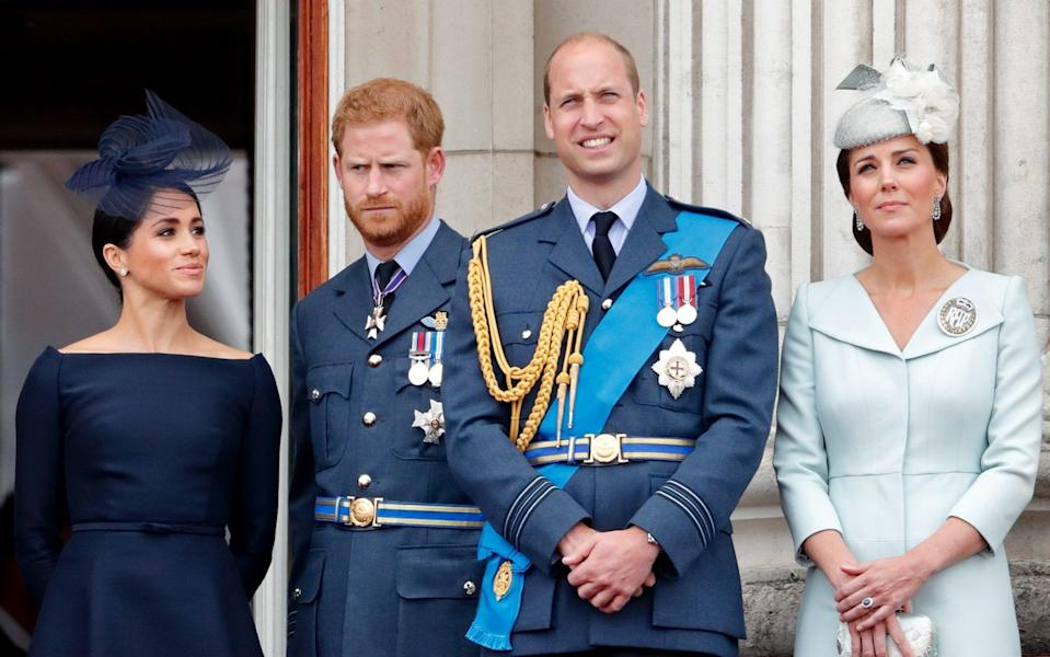 The Duke and Duchess of Sussex and the Duke and Duchess of Cambridge watch a flypast from the balcony of Buckingham Palace in 2018 - Max Mumby/Indigo /Getty Images Europe