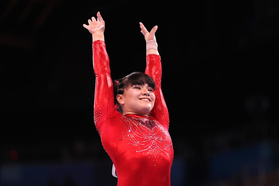 TOKYO, JAPAN - AUGUST 01: Alexa Moreno of Team Mexico competes in the Women's Vault Final on day nine of the Tokyo 2020 Olympic Games at Ariake Gymnastics Centre on August 01, 2021 in Tokyo, Japan. (Photo by Laurence Griffiths/Getty Images)