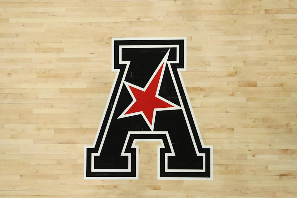 CINCINNATI, OH - JANUARY 28: The American Athletic Conference logo on the court during the game against the SMU Mustangs and the Cincinnati Bearcats on January 28th 2020, at Fifth Third Arena in Cincinnati, OH. (Photo by Ian Johnson/Icon Sportswire via Getty Images)