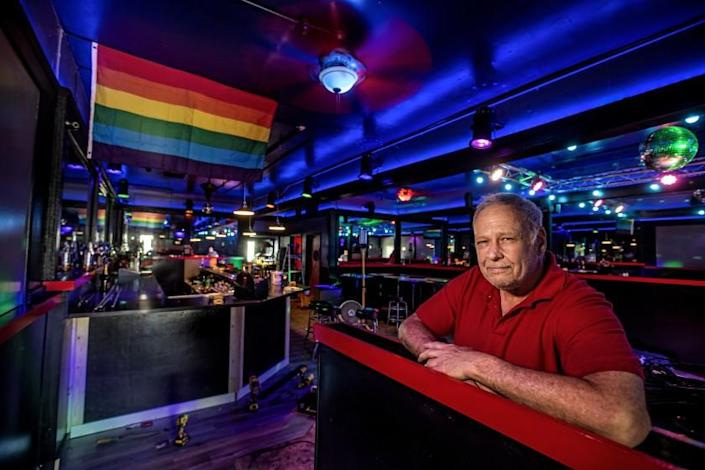 PASADENA, CA - MAY 19, 2021: Owner Steve Terradot is photographed inside The Boulevard, the only gay bar in Pasadena. Customers Mark Lanza and his partner Mark Chou started a go fund me to save the bar. (Mel Melcon / Los Angeles Times)