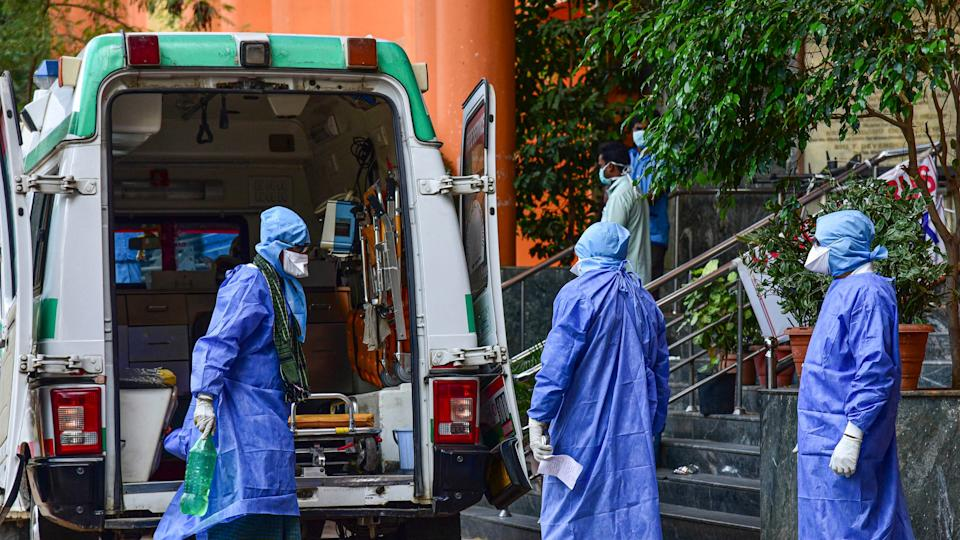 Medical workers attend to a suspected coronavirus patient. Image used for representation.