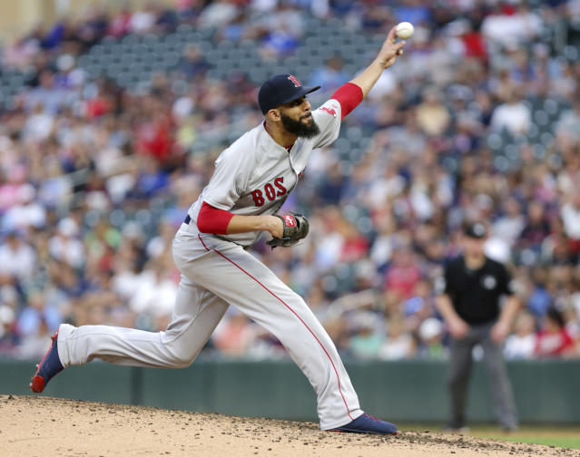 Boston Red Sox pitcher David Price throws to Minnesota Twins in the third inning of a baseball game Wednesday, June 20, 2018, in Minneapolis. (AP Photo/Andy Clayton-King)