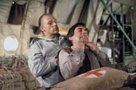 <p>Timothy Dalton and Andreas Wisniewski on the set of 'The Living Daylights', 1987.</p>