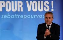 FILE PHOTO: Conservative leader Xavier Bertrand reacts to the results of regional election, in Saint-Quentin