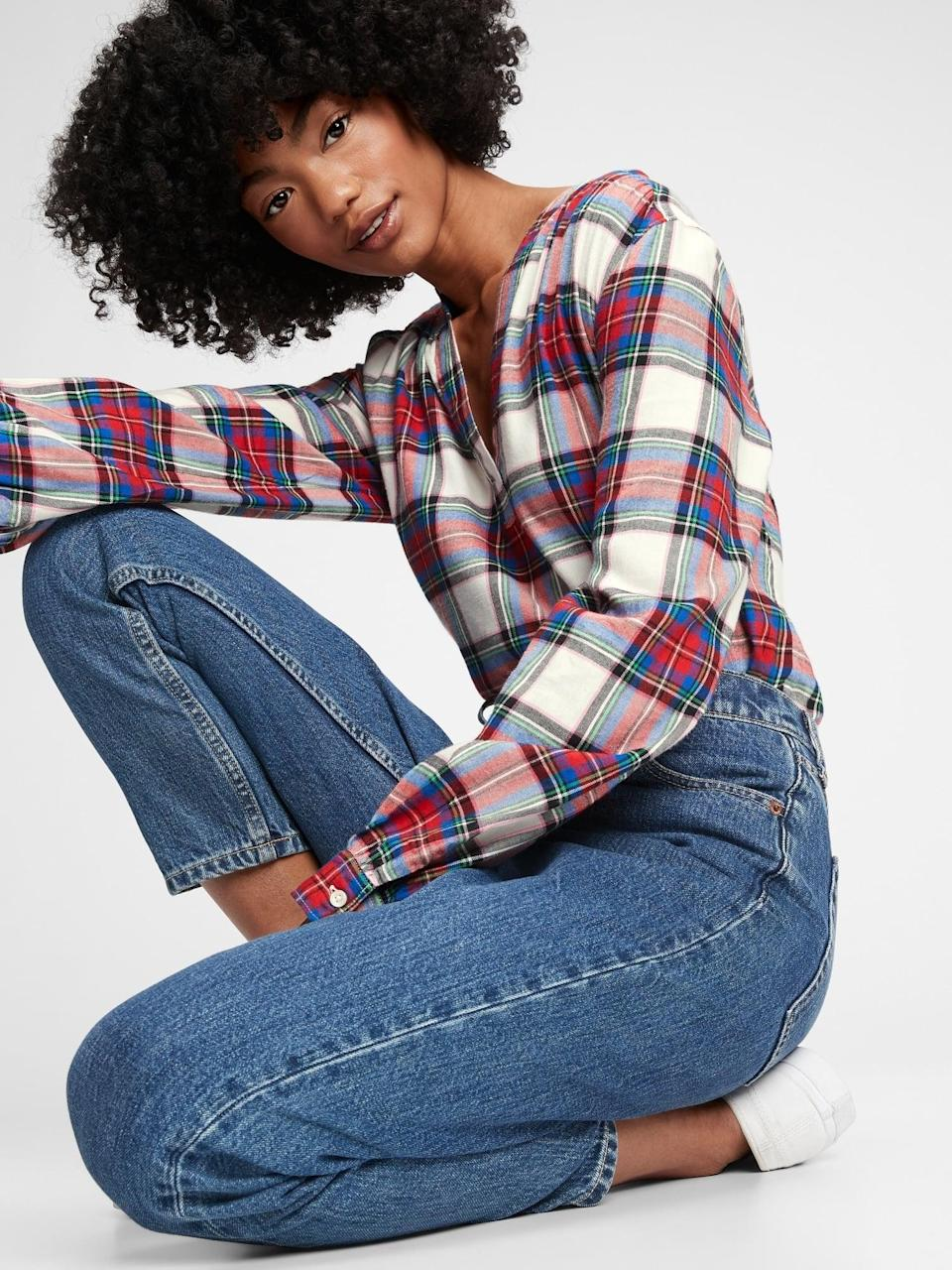 <p>Trust us, this soft <span>Gap Shirred Plaid Popover Top</span> ($54) is so cozy, it's soon to become your work-from-home favorite.</p>