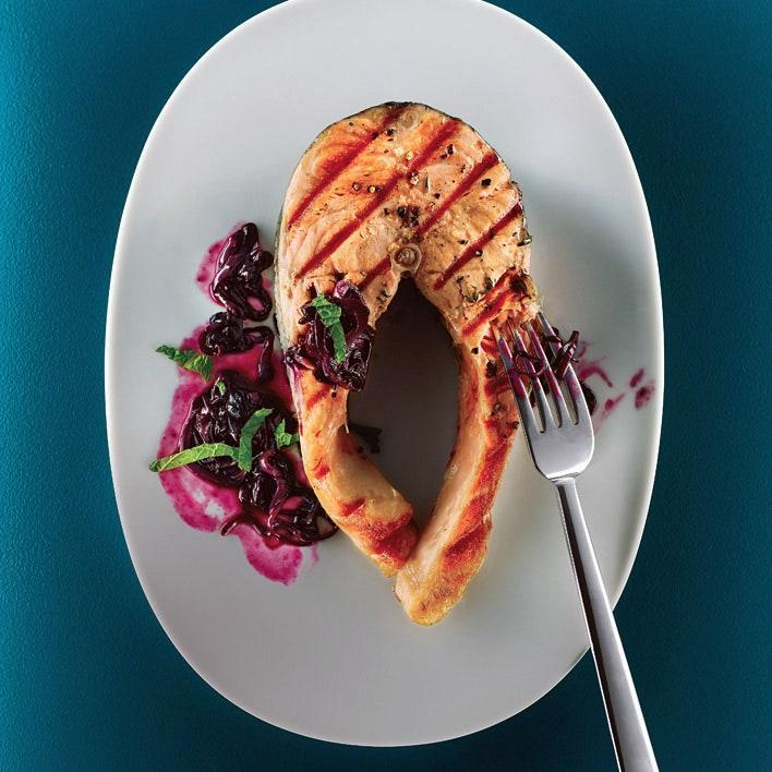 "Think blueberries are just for dessert? When combined with garlic and herbs, they become a sweet and savory sauce for the grilled fish. <a href=""https://www.epicurious.com/recipes/food/views/grilled-salmon-with-quick-blueberry-pan-sauce-360069?mbid=synd_yahoo_rss"" rel=""nofollow noopener"" target=""_blank"" data-ylk=""slk:See recipe."" class=""link rapid-noclick-resp"">See recipe.</a>"