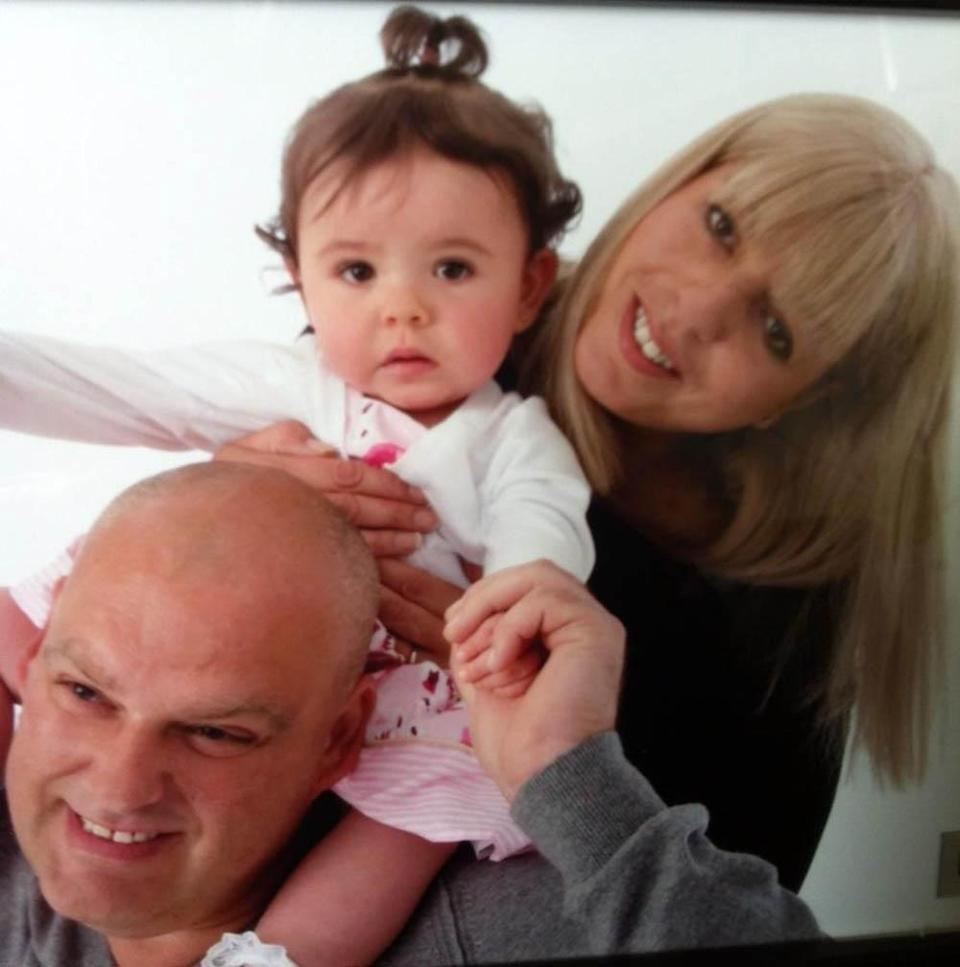Sue with husband Dean and daughter Kaylee. PA REAL LIFE