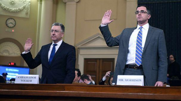PHOTO: Former US Special Envoy for Ukraine, Kurt Volker and top Russia and Europe adviser on President Donald Trump's National Security Council, Tim Morrison, are sworn in during the House Intelligence Committee hearing on Capitol Hill, Nov. 19, 2019. (Andrew Caballero-Reynolds/AFP/Getty Images)