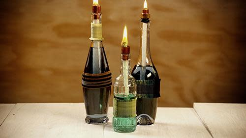 A diy tiki torch to light up your night video for Wine bottle night light diy