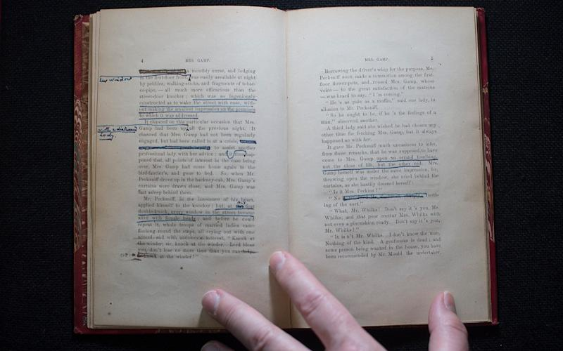 Dicken's annotated prompt copy of Mrs Gant, used by the author during his public readings in the US - © Eddie Mulholland