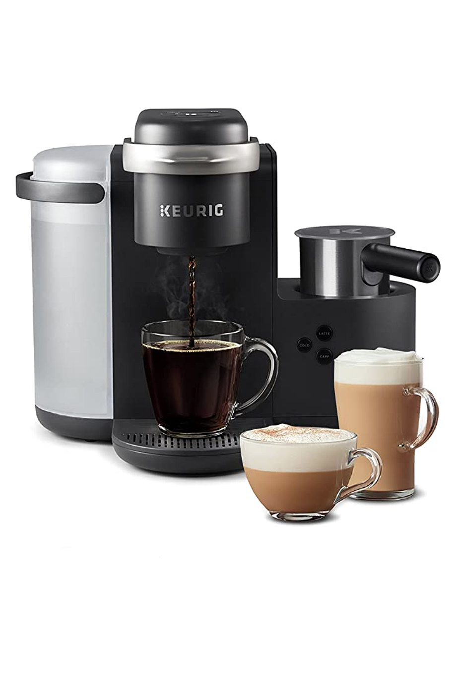 """<p><strong>Keurig</strong></p><p>amazon.com</p><p><strong>$169.99</strong></p><p><a href=""""https://www.amazon.com/dp/B07C1XC3GF?tag=syn-yahoo-20&ascsubtag=%5Bartid%7C10058.g.34480122%5Bsrc%7Cyahoo-us"""" rel=""""nofollow noopener"""" target=""""_blank"""" data-ylk=""""slk:SHOP IT"""" class=""""link rapid-noclick-resp"""">SHOP IT</a></p><p>Forget the local coffee shop. All she needs is this machine on her kitchen countertop to make her favorite lattes, cappuccinos, and beyond right at home.</p>"""
