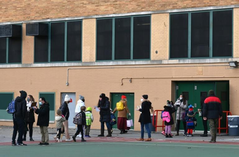 Elementary school pupils in New York returned to classrooms on December 7, 2020
