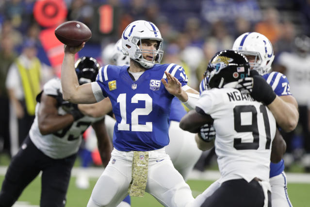 Indianapolis Colts quarterback Andrew Luck (12) throws against the Jacksonville Jaguars during the first half of an NFL football game in Indianapolis, Sunday, Nov. 11, 2018. (AP Photo/Michael Conroy)