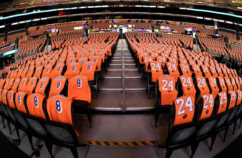 The Lakers revealed portions of their Kobe Bryant tribute ahead of Friday's game against the Trail Blazers. (Harry How/Getty Images)