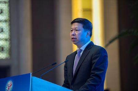 """FILE PHOTO: Song Tao, Minister of the International Department of the CPC Central Committee gives a speech during the closing ceremony of the """"CPC in dialogue with world political parties"""" high-level meeting, at the Diaoyutai State Guesthouse in Beijing, China December 3, 2017. REUTERS/Fred Dufour/Pool"""
