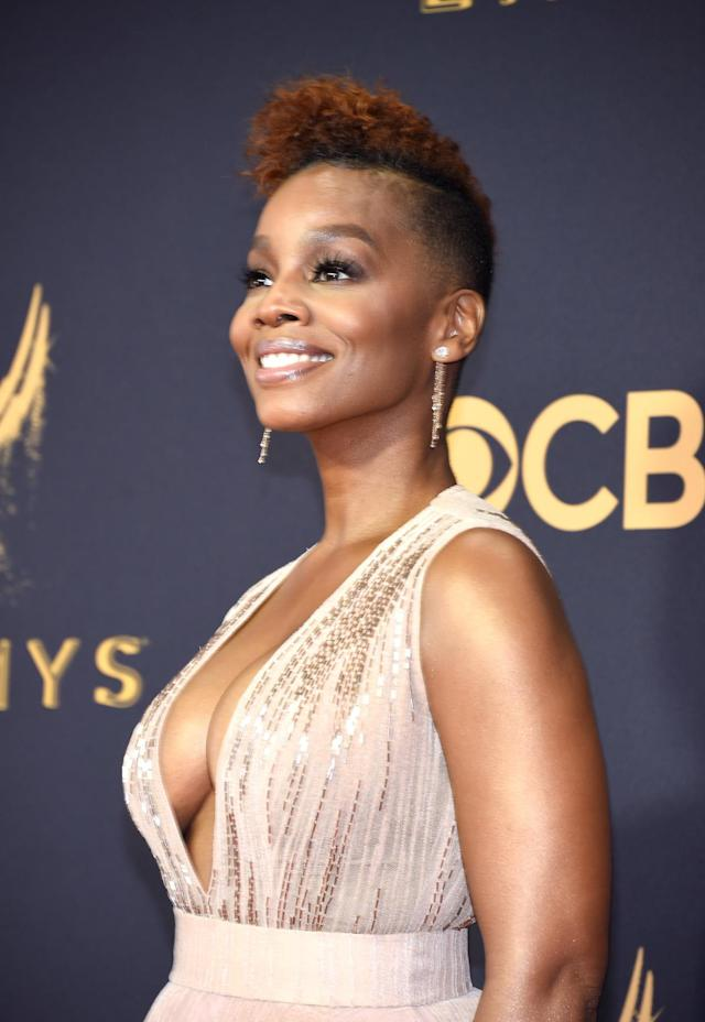 <p>Anika Noni Rose rocked an edgy, cropped curly cut that demands attention. (Photo: Kevin Mazur/WireImage) </p>