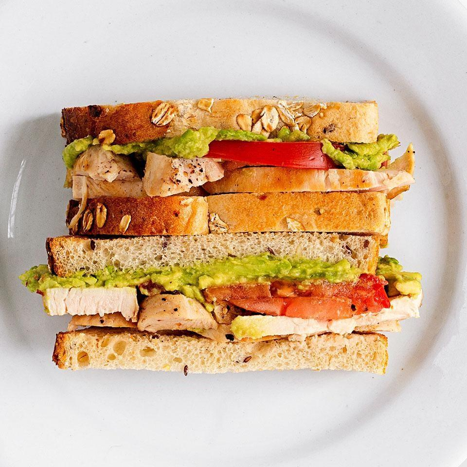 <p>In this healthy chicken sandwich recipe, the avocado is mashed to create a healthy creamy spread.</p>