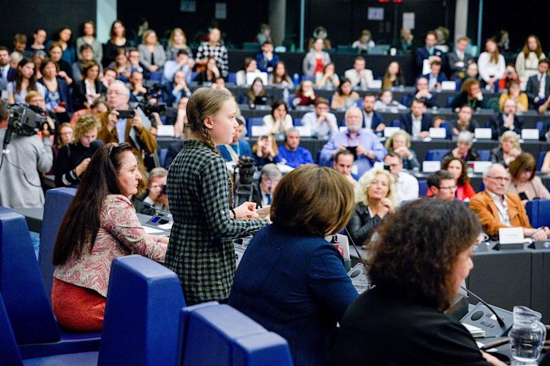 Thunberg speaking at the European Parliament in Strasbourg, France on April 16 | Michel Christen—EU-EP/REA/Redux