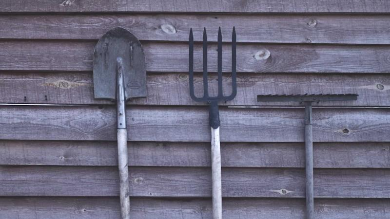 A spade and two rakes propped against a wooden wall