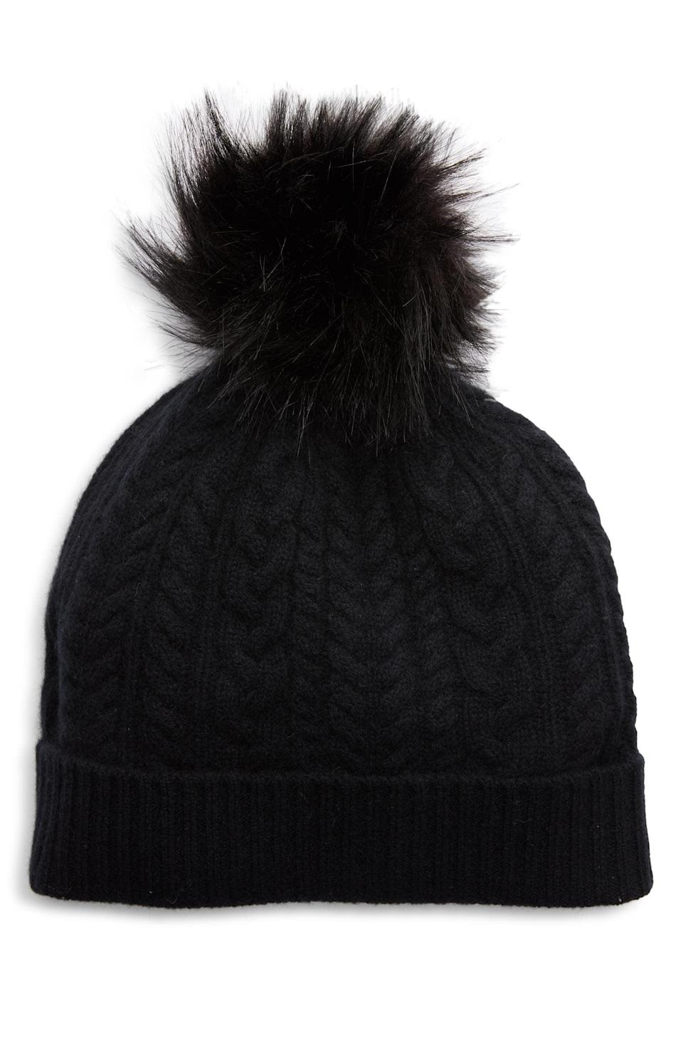<p>Cashmere is always a good idea, just look at this <span>Halogen Cable Cashmere Pom Beanie</span> ($59).</p>