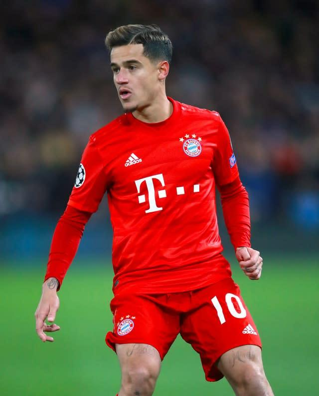 Bayern Munich's Philippe Coutinho is sidelined with an ankle injury (Adam Davy/PA)